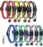 HOUHOU 12 Confezione Riflettente del Gatto Collare Regolabile Collare di spunto di Cane con Il Collare della Bell Quick Release Sicurezza con Anti-Lost Tag Collare di Gatto (Color : A)