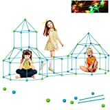 Fort Building Kits 155+10Pcs Kids Construction Fort DIY Play Tent Castles Tunnels Fun STEM Toys Flexible Construction DIY Building Tower Creative Birthday Kids Toys3 4 5 6 7 8 Year Old Rocket Tower