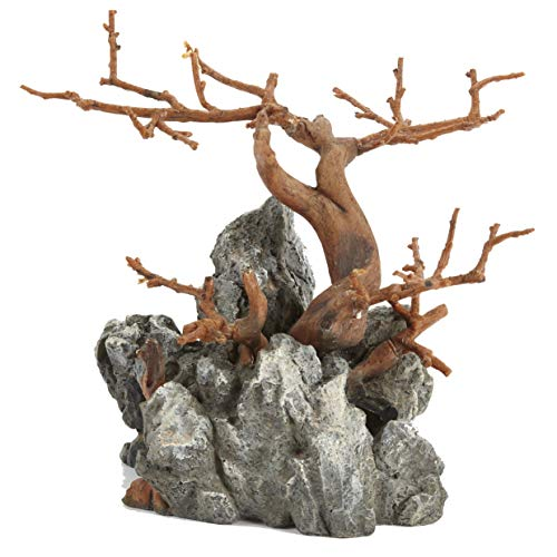 Pet Ting - Figura Decorativa de ciprés con diseño de Roca y Acuario escalando