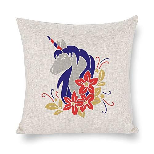 Funda de cojín de unicornio de 4 de julio, funda de almohada de lino rústico decorativa para silla, habitación, sofá, coche, decoración del hogar, regalo de inauguración de la casa, 45 x 45 cm lyg2jws7nncr