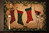 Tache Home Fashion Green Hang My Stockings by The Fireplace Christmas Holiday Festive Woven Decorative Tapestry Placemats, 13x19