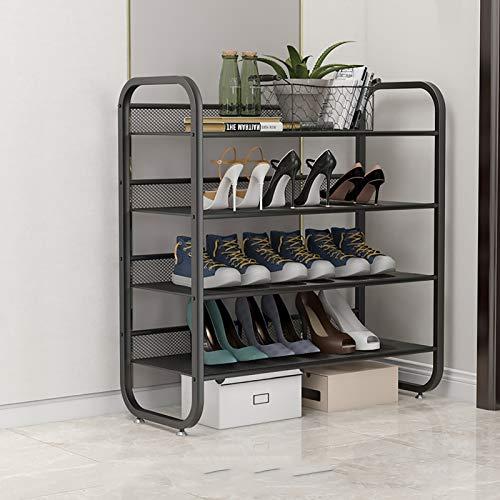 4 Nivel Marco De Hierro Shoe Rack Storage Organizer,Estante De Zapatos De Rejilla De Alambre,Organizador Moderno De Zapateros,Torre De Zapatos Apilable Para La Puerta De Entrada-Negro. 75x30x82cm(30x1