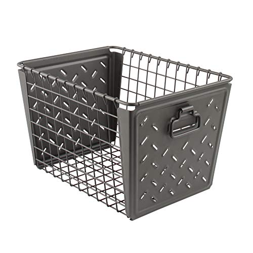 Spectrum Diversified Macklin, Stamped Steel & Wire Basket for Closet & Cubby Storage Vintage-Inspired Design with Customizable Label Plate, Medium, Industrial Gray