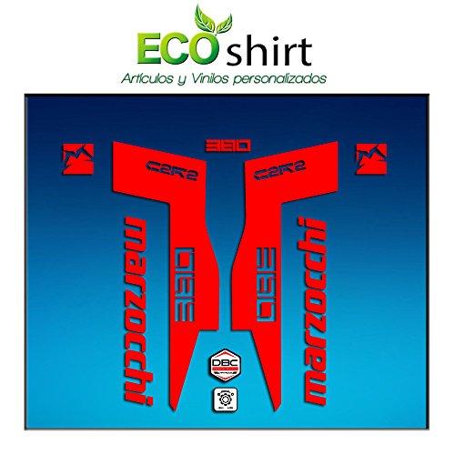 Ecoshirt HO-WJ43-FDU6 Autocollants Fork Marzocchi 380 C2Rc Am71 Aufkleber Decals Autocollants Fourche Gabel Fourche (Rouge