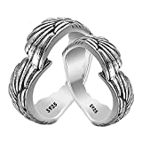 MAELOVE Hug Ring for Couples,925 Sterling Silver Love Angel Ring for Women Men Lover Feather Angel Wing Silver Wedding Band Vingage Open Promise Rings for Couples Adjust Size 6-13 Promise Ring Jewelry