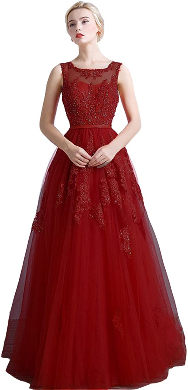 Lemai Tulle A Line Long Beaded Corset Sheer Lace Formal Prom Evening Dresses