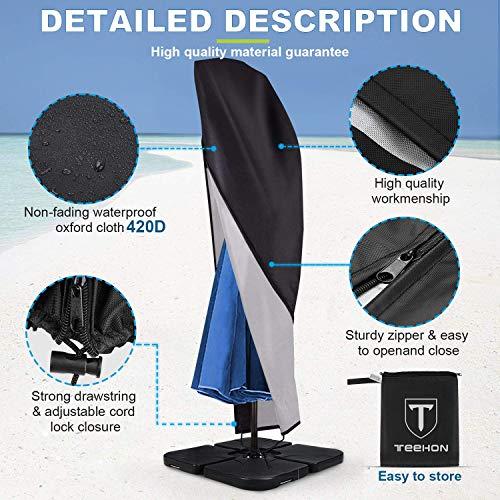 Sonnenschirm Schutzhülle mit Stab, Sonnenschirm Abdeckung 420D-Oxford-Gewebe Wasserdicht / staubdicht / UV-Schutz / Schneesturm Ampelschirm Schutzhülle mit Reißverschluss und Aufbewahrungstasche - 3