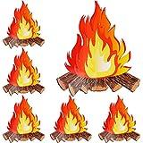 6 Juegos de Hoguera 3D de Papel Llama Falsa de Fuego Artificial Antorchas de Cartón de Centro de Mesa para Decoración de Fiesta de Fogata, 12 Pulgadas de Alto