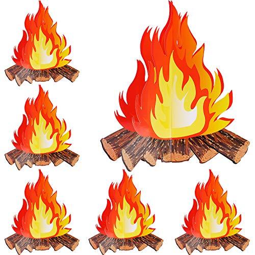 6 Set Künstliches Feuer Gefälschte Flamme Papier 3D Lagerfeuer Herz Karton Flamme Taschenlampe für Lagerfeuer Party Dekoration, 12 Zoll Hoch(6 Set)