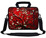 Meffort Inc 13 Inch Neoprene Laptop Bag with Extra Side Pocket Fits for 12.5 to 13.3 Inch Size Computer - Cherry Blossoming