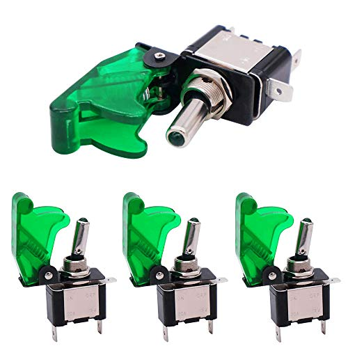 QitinDasen 4Pcs Profesional Coche Interruptor Palanca, Verde Impermeable Cubierta Verde LED Indicador, ON-OFF 2 Posiciones 3 Pines SPST Auto Conmutador Basculante, para Coche Camión Barco (20A/12VDC)