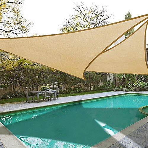 Garden Sun Shade Sail Triangle 95% UV Block Respirant Hdpe Sunscreen Auvent Canopy for Outdoor Patio Party, Yellow, 5X5X5M