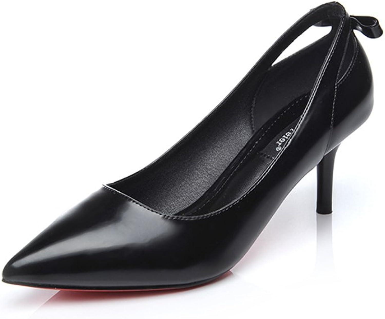 BERTERI kvinna's point -Toe Bowknop Heel skor skor skor Dress Pumpar  grossistpriser