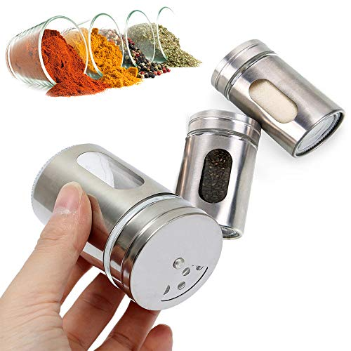 Chrome Finish Salt and Pepper Sugar Shakers 2 Set - With Adjustable Pour Holes - Perfect Dispenser Set for your Salts - Stylish Looking Stainless Steel