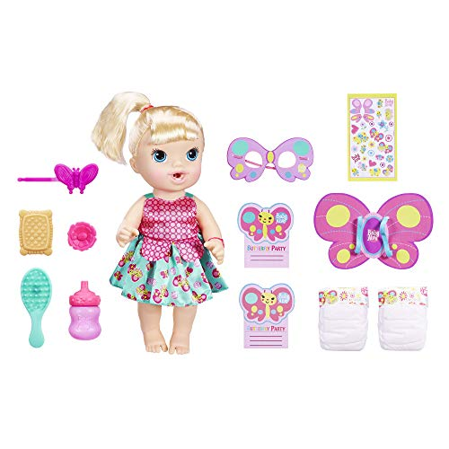 Baby Alive Butterfly Party: Blonde Hair Doll with 12 Accessories That Drinks and Wets, Great Doll for 3 Year Old Girls and Boys and Up (Amazon Exclusive)