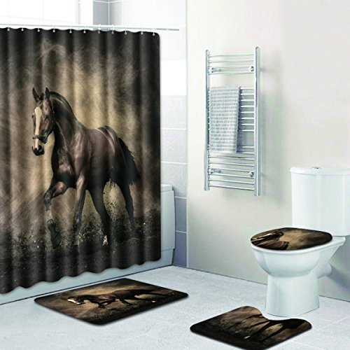 R-ANSXYX 4 Piece Bathroom Set,Animal Black Horse Waterproof Shower Curtain Non-Slip Contour Rug Toilet Lid Cover and Bath Mat
