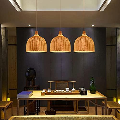 OHKKSD Accesorios de iluminación Colgantes de bambú Tejido, Linterna de luz Colgante de Tejido de ratán de bambú, lámpara de Arte de bambú Hecha a Mano para Sala...