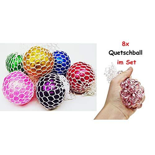 Lg-Imports 8er Set Quetschball Anti Stressball Knautschball Stress Knet Ball im Netz Glitzer bunt