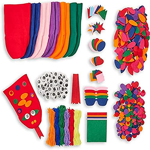 ZJZ Kit para hacer marionetas de mano de animales, 848 piezas de manualidades de fieltro, incluye marionetas de mano, pompones, ojos gordos, manualidades de fieltro para niños