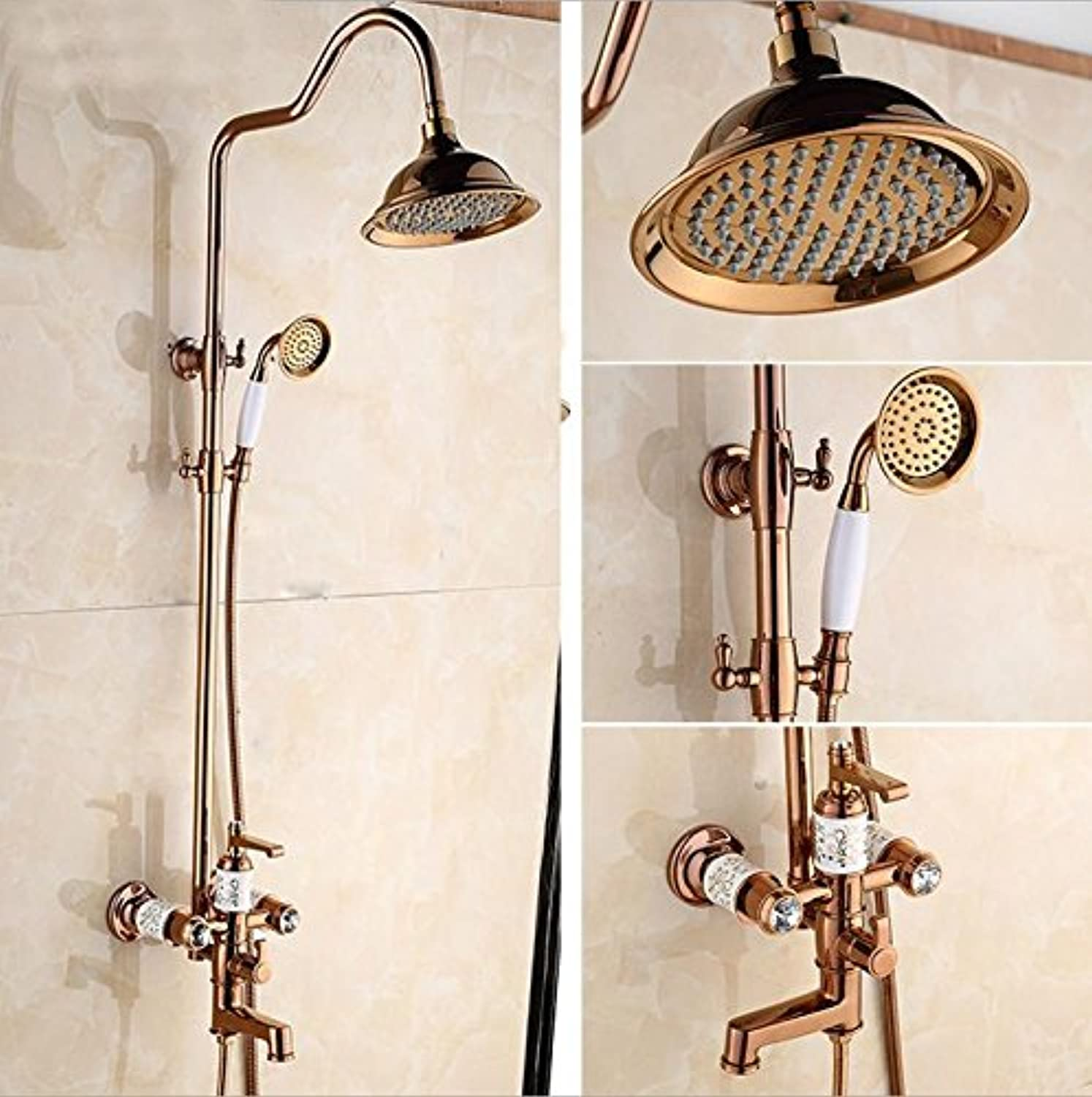 pink jingaofushuai shower set valve body casting high throw and refined copper plating shower set