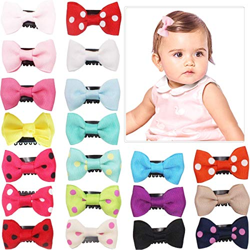 20Pcs Tiny Baby Hair Clips for Fine Hair Boutique Grosgrain Ribbon Hair Bows Clips Barrettes Hair Accessories For Baby Girls Newborn Infant Toddlers