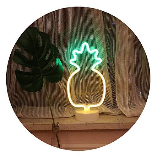 GUOCHENG Bonita lámpara de neón con forma de piña para interior de noche, ideal para decoración de fiesta, cumpleaños, festival, Navidad, con 3 pilas AA