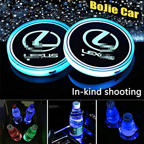 2pcs LED Car Logo Cup Holder Lights for Lexus, 7 Colors Changing USB Charging Mat Luminescent Cup Pad, LED Interior Atmosphere Lamp Decoration Light. (Lex us)