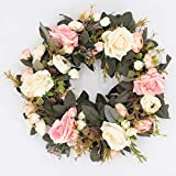35CM Artificial Rose Wreath Artificial Flowers For Front Door Wreath or Outdoors - Home Grave Wedding Garden Hanging Decoration