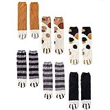 CNNIK 6 Pares Calcetines de mujer para el invierno, lindos calcetines de pata de gato de lana de dibujos animados de novedad linda para mujeres niñas damas