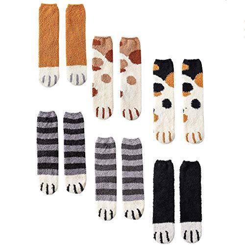 CNNIK 6 Paar Damen Socken für den Winter, niedliche Neuheit Cartoon Coral Fleece Cat Paw Socken für Frauen Mädchen Damen