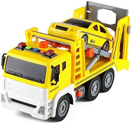 WANGCH Aleación Sonido y Ligero Vehículo de ingeniería Juguete Coche de Rescate en Carretera Grande Remolque Vehículo de Rescate Camión Transportador Coche de Juguete Infantil Deslizante inercial