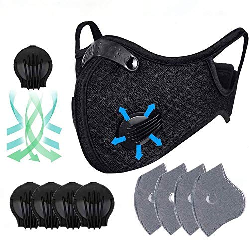C&Xanadu Dustproof Mask Training Masks Ship from United States, Elastic Activated Carbon Riding Mask Face Masks for Motorcycling Woodworking Cycling Running Bicycle Black (4pcs Filter)