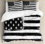 Ambesonne United States Duvet Cover Set, Grunge Aged Black and White American Flag Independence Fourth of July Design, Decorative 3 Piece Bedding Set with 2 Pillow Shams, Queen Size, Black and White