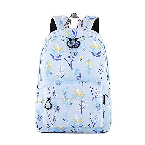 Sporttas voor dames en meisjes, van polyester, waterbestendig, bedrukt met blauwe bladeren, voor meisjes, 31 cm, X14 (m) X43 cm, blauw