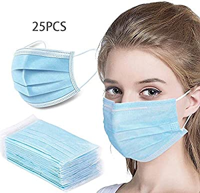 LIVINH 25Pcs Disposable Filter 3 Ply Earloop Comfort, Breathable Beauty Dust Mask