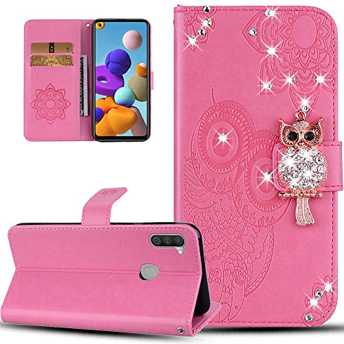 ISADENSER Samsung A11 Case Galaxy A11 Case for Women Glitter Bling Diamond Case With Cards Slot Cash Pockets Embossing PU Leather Flip Wallet Case for Samsung Galaxy A11 , Crystal Owl Pink YK