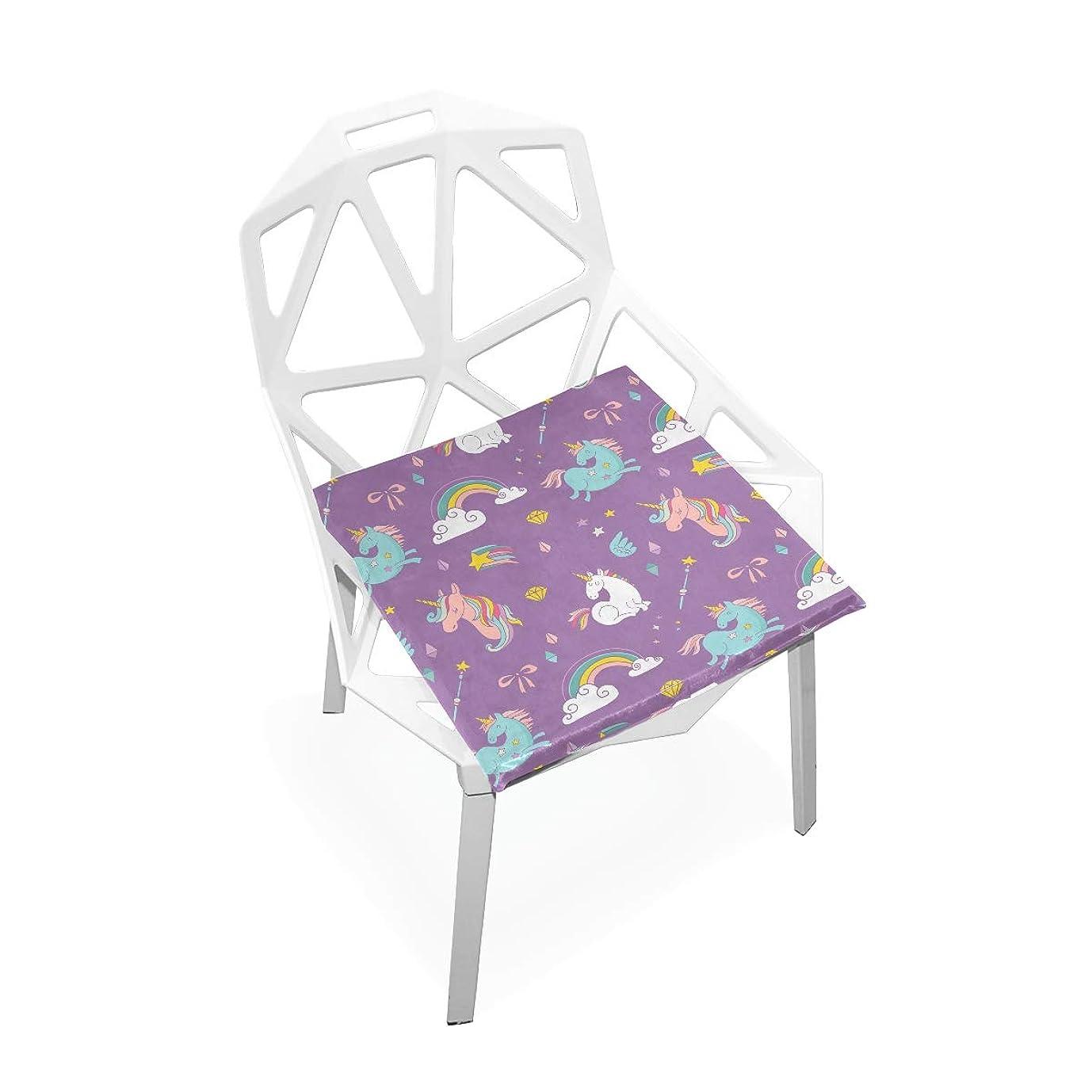 累積ゴミ禁止する座布団 低反発 ユニコーン 可愛い かわいい 虹柄 星柄 椅子用 ビロード オフィス 車 洗える 40x40 かわいい おしゃれ ファスナー ふわふわ 学校 fohoo