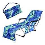 TOPCHANCES Portable Microfiber Beach Towel Cover with 2Pcs Side...