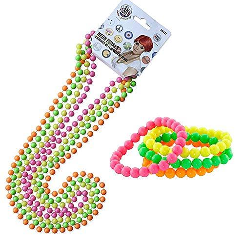 80er Damen Neon Perlen,1980er Jahre Kostümzubehör Set 4er Pack Fluoreszierende Neon Armbänder+4er Pack Neon Halskette Kunststoff 70er 80er Jahre Rave Perle für Party Kostüm Dress Up Multicolor