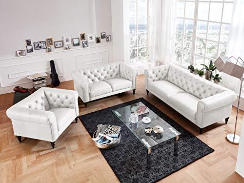 Moebella Leder Chesterfield Sofas 3-2-1-Sitzer Sitzgarnitur Couch Hudson Voll-Leder Massivholz Füße mit Knopfheftung (Weiß)