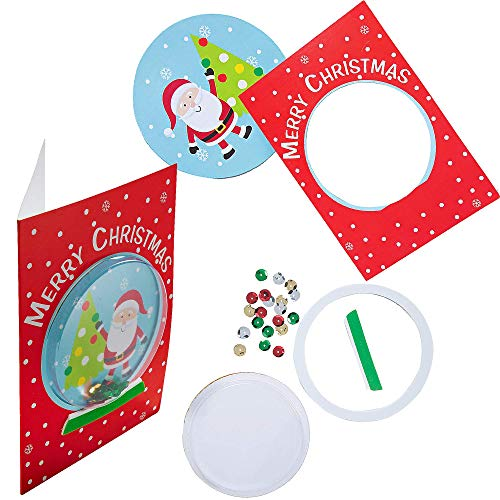 4E's Novelty Christmas Card Making Craft Kit for Kids (12 Pack) DIY Handmade Xmas Greeting Card - Fun Holiday DIY Project Christmas Party Invitation Card Activities