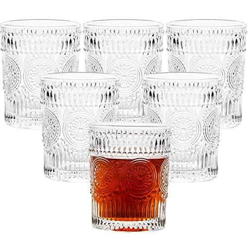 CZUMJJ 10 oz Romantic Water Glasses 6 Pack, Premium Drinking Glasses Tumblers, Vintage Glassware Set, Whiskey Glasses Set,Perfect for Drinking Whiskey, Juice, Beverages, Beer, Cocktail
