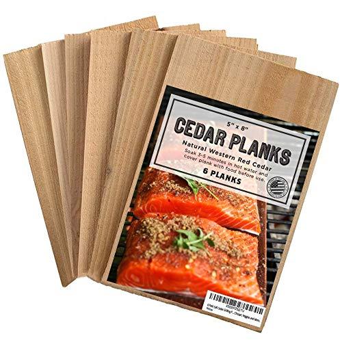 6 Pack 5x8 Cedar Grilling Planks - Adds Smoky Cedar Flavor to Salmon,...