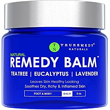 Remedy Tea Tree Oil Balm - Cream for Athletes Foot Jock Itch Ringworm Eczema Nail Issues Rash Skin Irritation - Ointment for Dry Itchy Skin - Foot & Body Balm with Lavender & Eucalyptus - 2 Oz