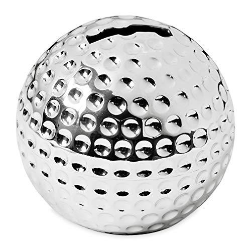 EDZARD Spardose Sparbüchse Golfball, Höhe 8 cm, edel versilbert, anlaufgeschützt