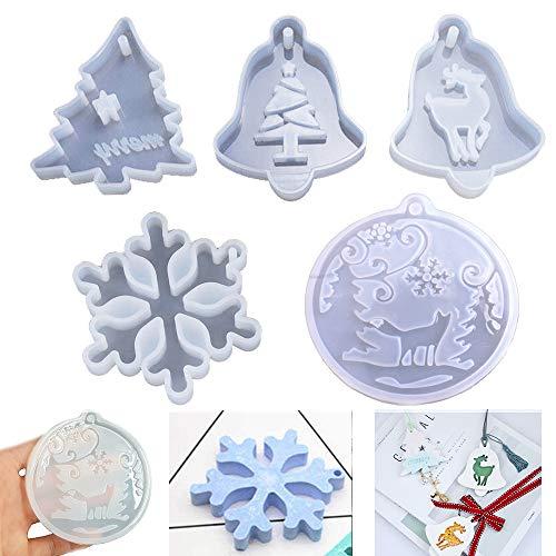 Stampi natalizi in resina per ciondoli, creazione di gioielli, in silicone, con cristalli epossidici, per albero di Natale, fiocchi di neve, alce, lupo, decorazioni per albero di Natale,5pcs