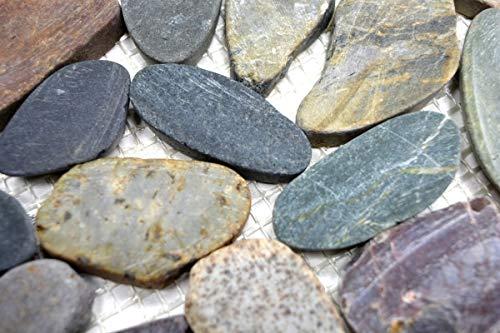 Mosaik Fliese Flußkiesel Steinkiesel Kiesel geschnitten weiß-gelb MOS30-0104_m