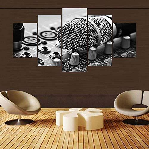Decoracion Salon Modernos 5 Piezas Lienzo Grandes murales Pared hogar Pasillo Decor Arte Pared Cuadro Estudio de micrófono de música en blanco y negro Fotos HD Impresión Carteles Innovador Regalo