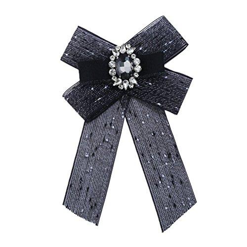 Cdet - 1 broche para mujer con forma de lazo de perlas de cristal 12.5 * 20cm negro