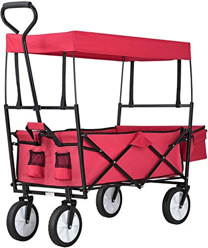 Collapsible Handcart Outside Alles Terrain Handcart with Wide Brake Wheels, faltbar mit Dach Handwagen,mesh Cup Holders, Adjustable Handle, Fabric Bag, red